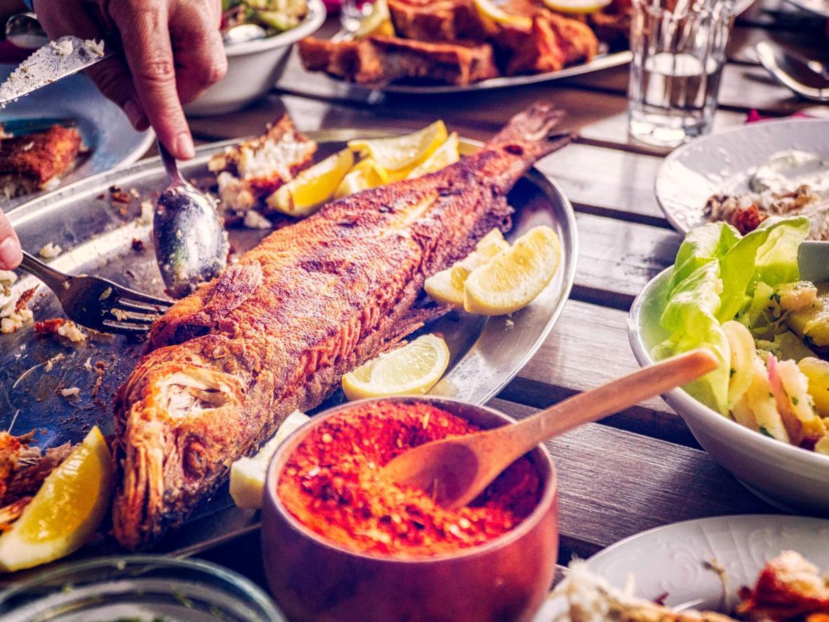 El típico pescado zarandeado de Tepic