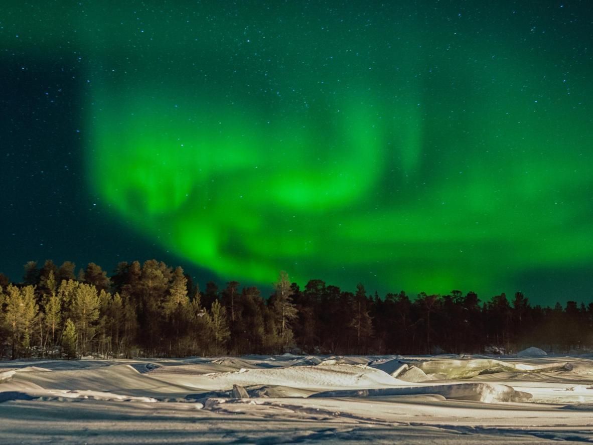 Visite em meados do inverno e veja renas em Inari, Finlândia