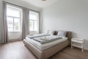 Cama ou camas em um quarto em Rehorova apartment