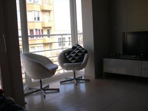 אזור ישיבה ב-Appartement Koksijde