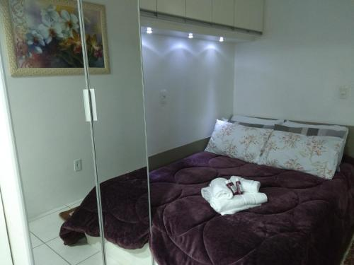 Cama ou camas em um quarto em Mirante Vale dos Vinhedos