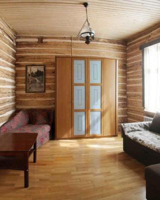 Log cabin in the center